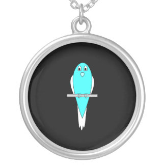 Blue and White Bird Parakeet Black Pendant