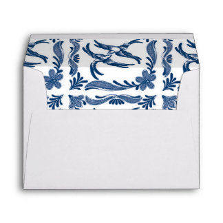 Blue and white birds chinoiserie delft toile china envelope