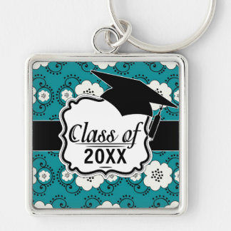 blue and white boho chic flower damask graduation Silver-Colored square keychain