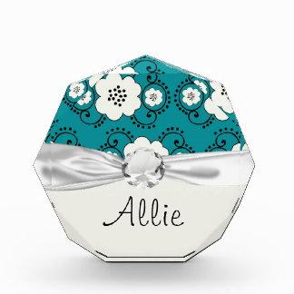 blue and white boho chic flower damask pattern award