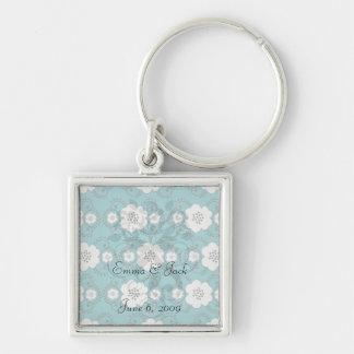 blue and white boho chic flower damask pattern keychains