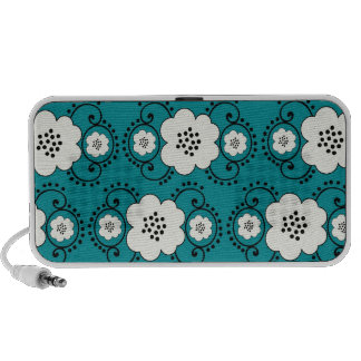blue and white boho chic flower damask pattern PC speakers