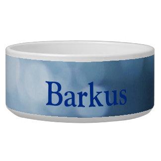 blue and white bokeh dog bowl