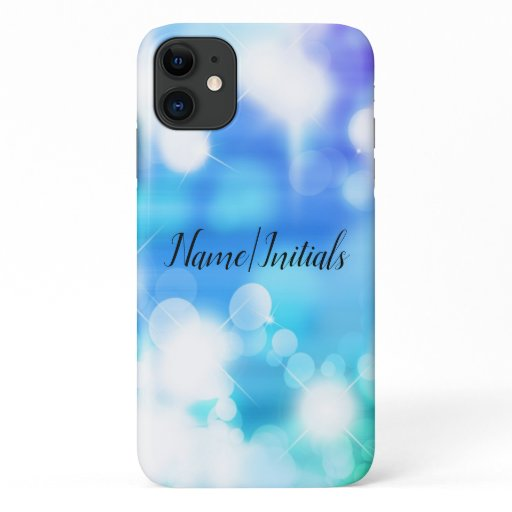 Blue and White Bokeh Personalized iPhone 11 Case