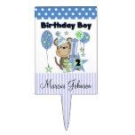 Blue and White Boy Monkey 2nd Birthday Cake Topper