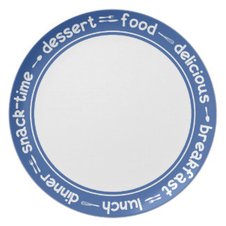 Blue and white Breakfast Lunch Dinner text plate