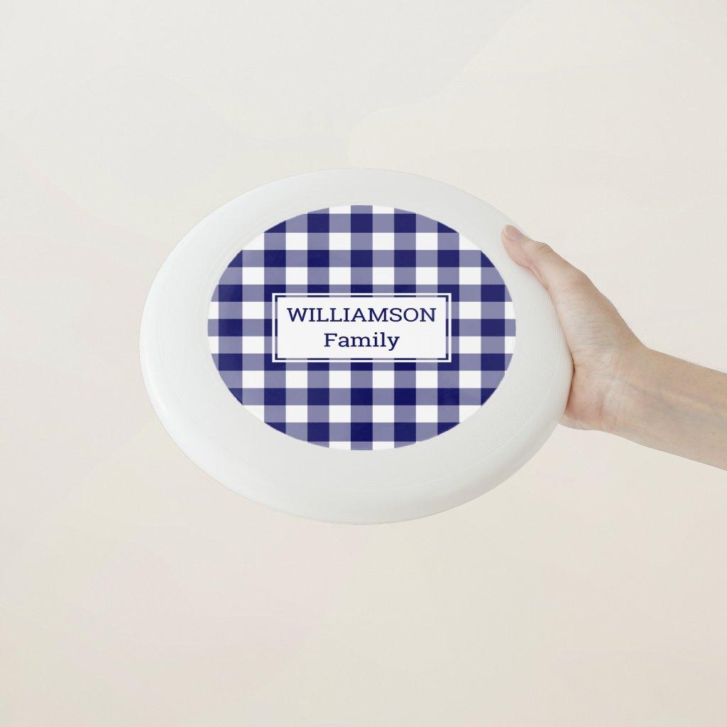 Blue and White Buffalo Check Pattern Custom Name Wham-O Frisbee