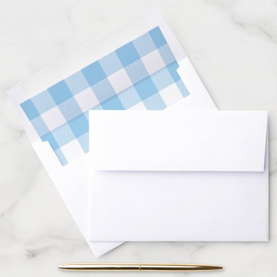 Blue and White Buffalo Check Pattern Envelope Liner