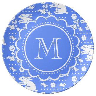 Blue and White Bunny Rabbit Monogram Pattern Porcelain Plate