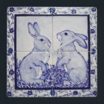 "Blue and White Bunny Rabbit Tile Clock Dedham Navy<br><div class=""desc"">My original,  copyrighted blue and white rabbit tile mural is captivating as a clock. Numbers 12,  3,  6 &amp; 9 are in the border areas in dark blue.</div>"
