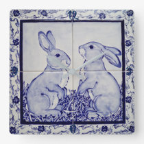 Blue and White Bunny Rabbit Tile Clock Dedham Navy