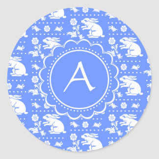 Blue and White Bunny Rabbits Vintage Style Pattern Classic Round Sticker