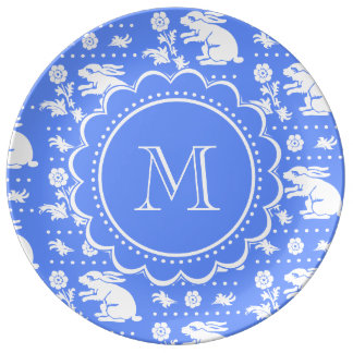 Blue and White Bunny Rabbits Vintage Style Pattern Porcelain Plate