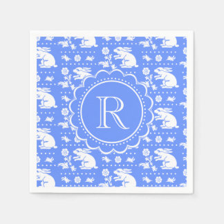 Blue and White Bunny Rabbits Vintage Style Pattern Paper Napkin