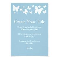 Blue and White Butterfly Wedding Invitation (<em>$1.86</em>)