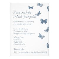 Blue and White Butterfly Wedding Invitation (<em>$2.05</em>)