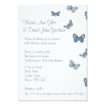 Blue and White Butterfly Wedding Invitation