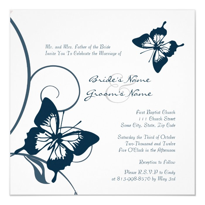 Blue Butterfly Wedding Invitations Templates ~ Matik for .