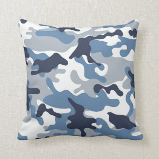 Blue and White Camouflage Throw Pillow