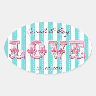 Blue and white Candy stripe love sticker