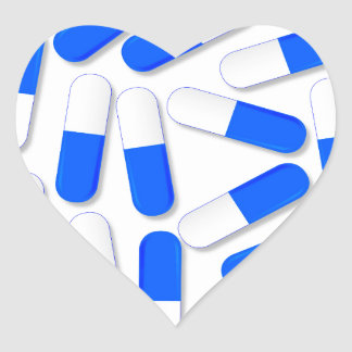 Blue And White Capsules Heart Sticker