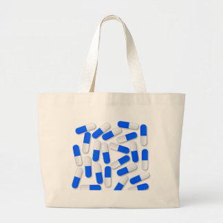 Blue And White Capsules Large Tote Bag