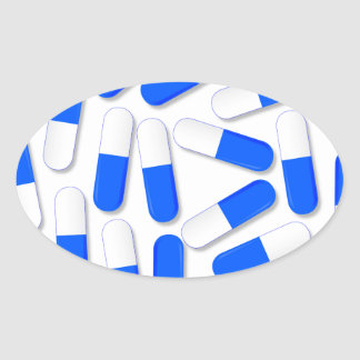 Blue And White Capsules Oval Sticker
