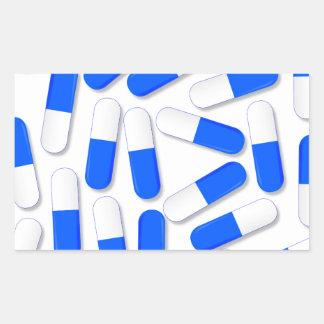 Blue And White Capsules Rectangular Sticker