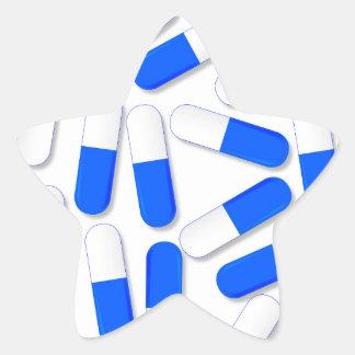 Blue And White Capsules Star Sticker