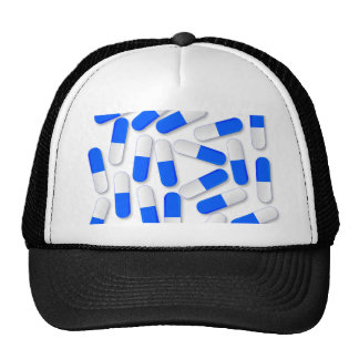 Blue And White Capsules Trucker Hat