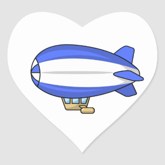 Blue and White Cartoon Blimp Heart Sticker