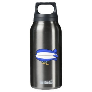 Blue and White Cartoon Blimp Insulated Water Bottle