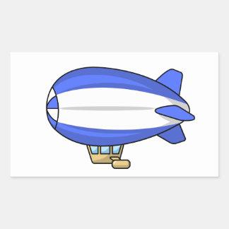 Blue and White Cartoon Blimp Rectangular Sticker