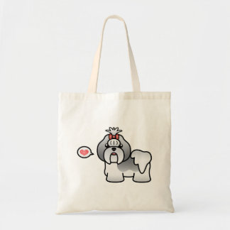 Blue And White Cartoon Shih Tzu Love Tote Bag