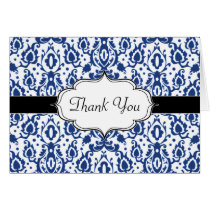 Blue and White Casbah Damask Card
