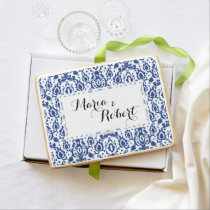 Blue and White Casbah Damask Shortbread Cookie