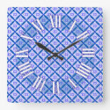 Blue and White Cathedral Patchwork Inspired Design Square Wall Clock (<em>$33.45</em>)