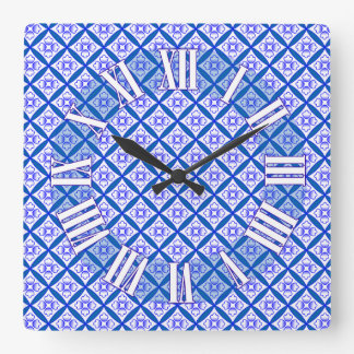 Blue and White Cathedral Patchwork Inspired Design Square Wall Clock