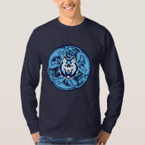 blue and white celtic wolf design