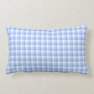 Blue and White Check Pattern. Lumbar Pillow