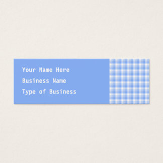 Blue and White Check Pattern. Mini Business Card