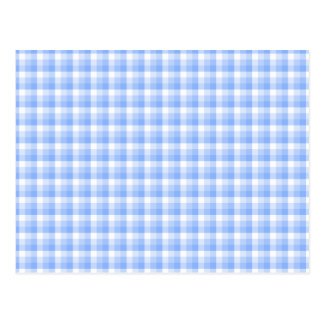 Blue and White Check Pattern. Postcard