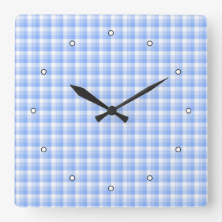 Blue and White Check Pattern. Square Wall Clock