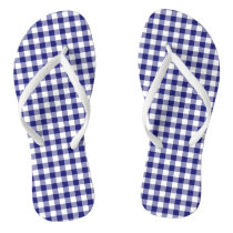 Blue And White Checked Gingham Plaid Pattern Flip Flops