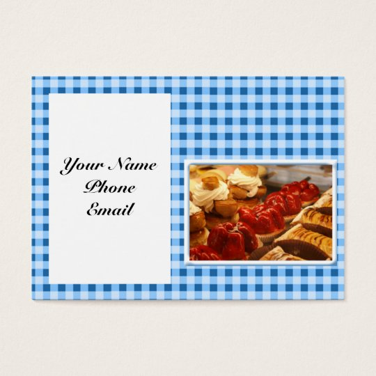 Blue and White Checked Plaid Dessert Business Card