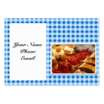 Blue and White Checked Plaid Dessert Business Cards