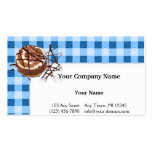 Blue and White Checked Plaid Dessert Business Card Template