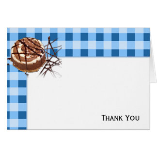Blue and White Checked Plaid Dessert Card