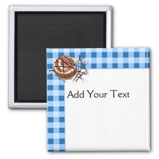 Blue and White Checked Plaid Dessert Magnets
