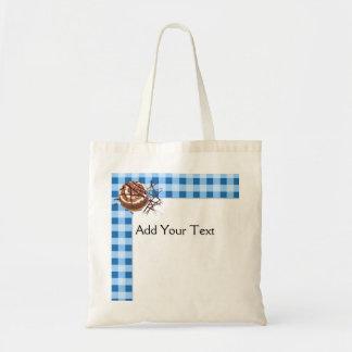 Blue and White Checked Plaid Dessert Tote Bag